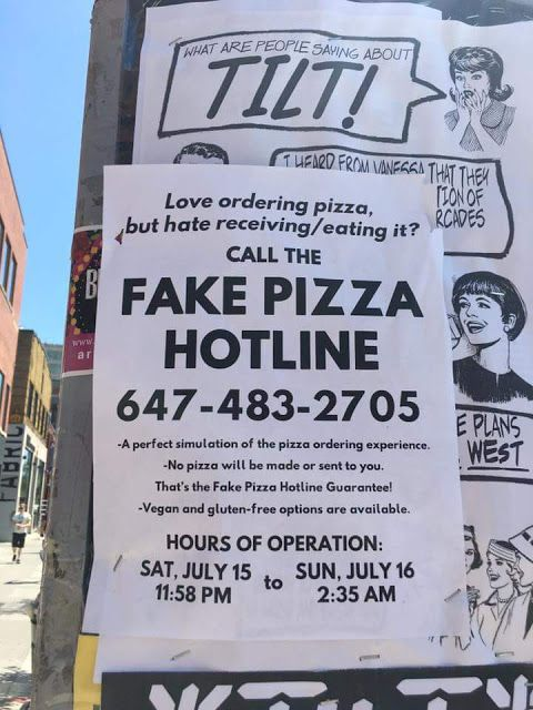 Funny Fake Pizza Hotline Sign