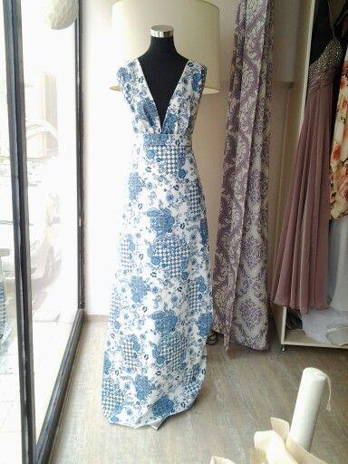 White-blue maxi dress.