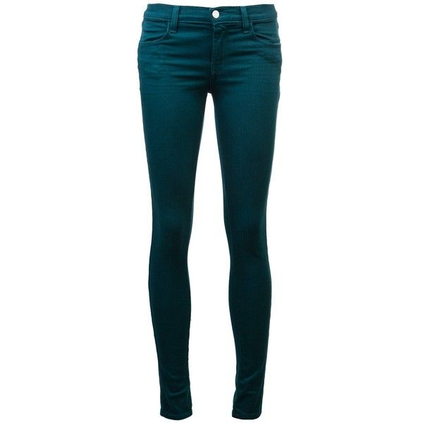 J BRAND Super skinny jeans (134.355 CLP) ❤ liked on Polyvore featuring jeans, pants, bottoms, calças, pantalones, j brand, skinny fit jeans, zipper skinny jeans, skinny jeans and teal jeans