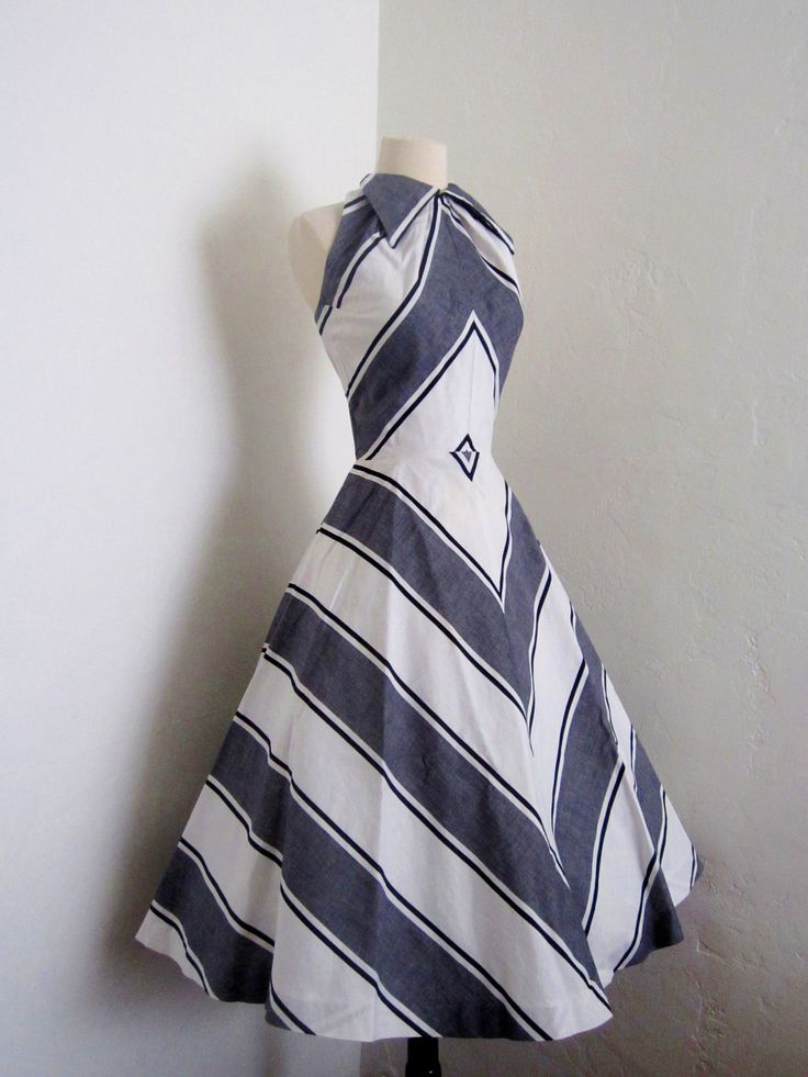 ~1950s Ira Retner Halter Dress~ Love the stripe placement!