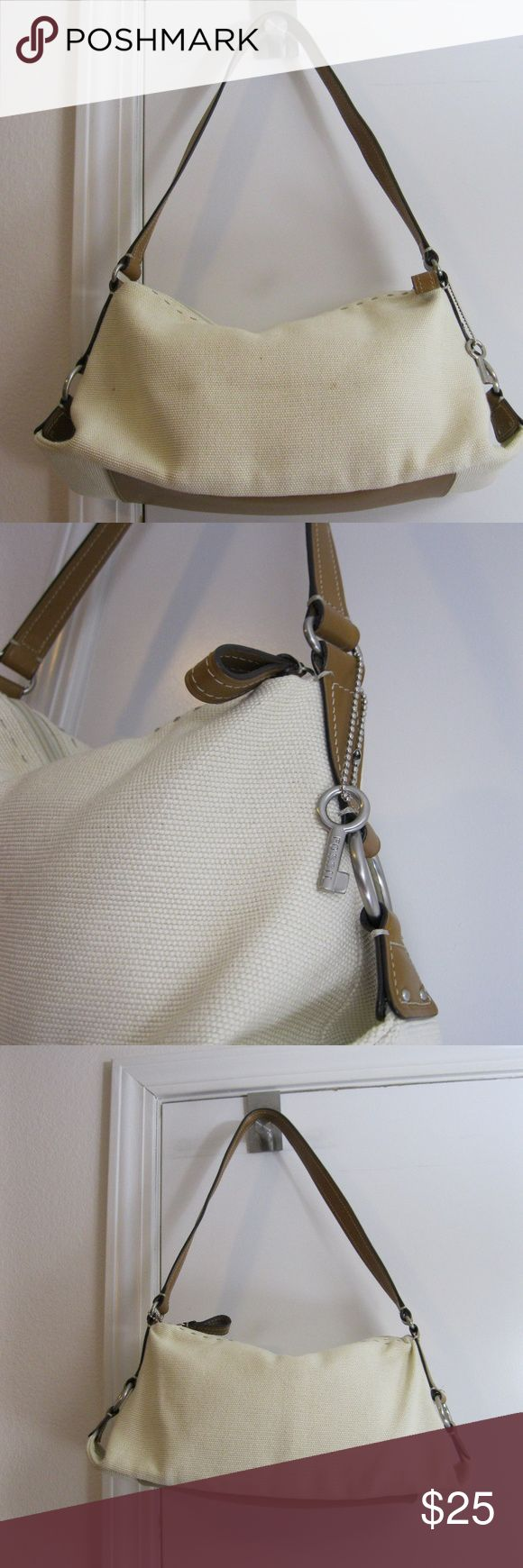 """Fossil Beige Canvas Hobo Shoulder Bag - 75082 Fossil Beige Canvas Hobo Shoulder Bag with Brown Accents - 75082. Bag has one inside zip pocket, and does have the Fossil Key still attached.   Bag measures approximately 13"""" wide at base, 7"""" tall, and 4.5"""" across the bottom. Strap drop 10"""".   Bag in general good shape - a few small barely noticeable marks outside, but and no stains on inner lining. Fossil Bags Shoulder Bags"""