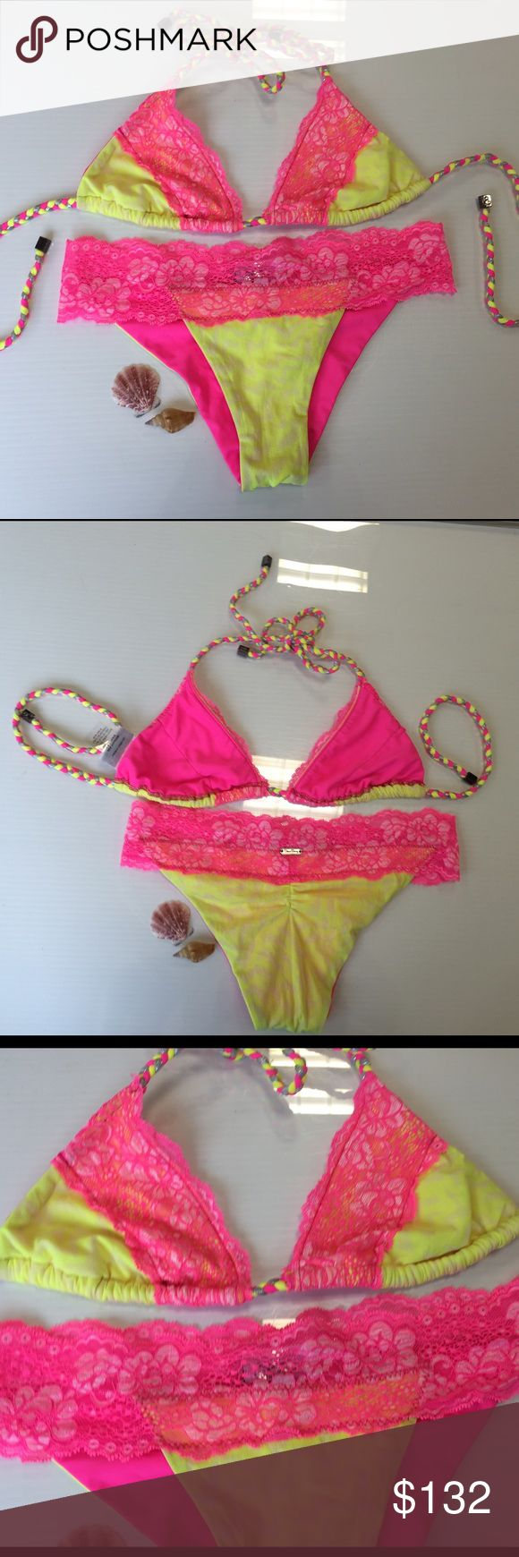 Beach bunny hot pink neon lace bikini size medium Beach bunny hot pink neon lace bikini size medium pre-loved and only used once for a few hours like new Beach Bunny Swim Bikinis