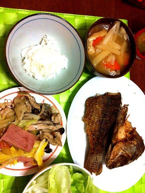 昨晩の夕食 フィリピンの淡水熱帯魚テラピアは白身で鯛の様な感じです♫ 皮がパリパリになる様に大きな中華鍋に油をタップリ張って時間をかけて丸揚げします^_−☆ スパムと白菜等を炒めた物と前日の余り物のChopsuy【比国風八宝菜】 なぜか和風の けんちん汁がよく合います♩ - 3件のもぐもぐ - テラピアの素揚げ&スパム白菜炒め by manilalaki