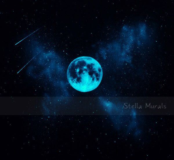Star Mural with Glow in the Dark Moon | Self-Adhesive wall or ceiling mural | Stella Murals Glow Decal by StellaMurals on Etsy https://www.etsy.com/listing/246633039/star-mural-with-glow-in-the-dark-moon