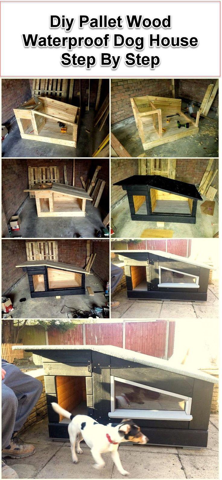 Luxury Pallet Wood Dog house #DogHouseDIY