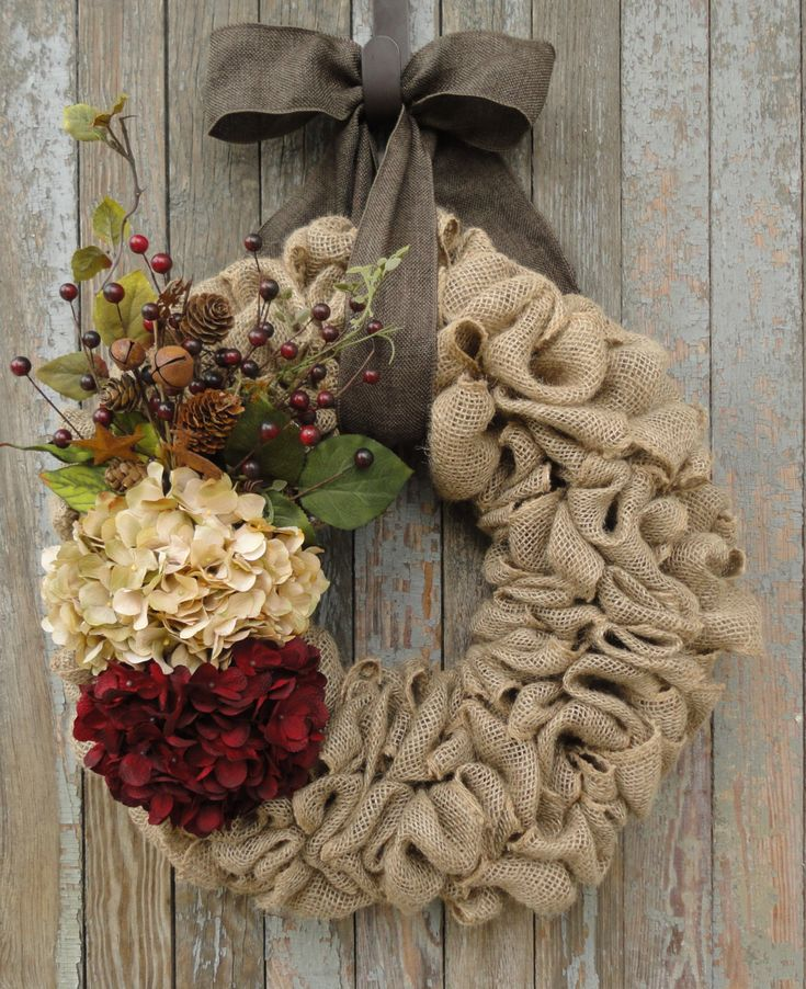 Christmas Burlap Wreath, Hydrangea Burlap Wreath, Holiday Burlap Wreath, Rustic…