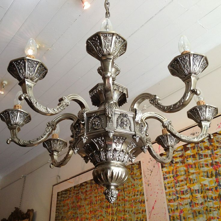 Italian Silvered Eight Branch Light