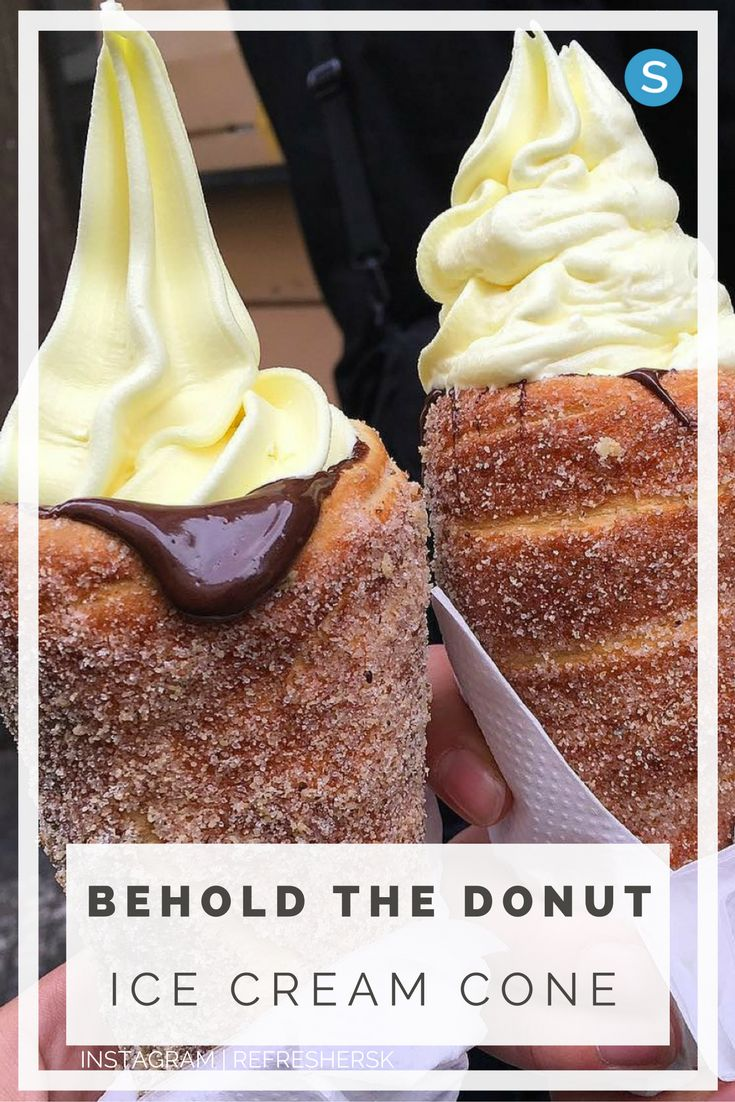 Make your next ice cream treat taste even better with this donut ice cream cone recipe! Get the easy recipe instructions here: http://simplemost.com/a-donut-ice-cream-cone-may-be-the-best-dessert-innovation-ever?utm_campaign=social-account&utm_source=pinterest&utm_medium=organic&utm_content=pin-url