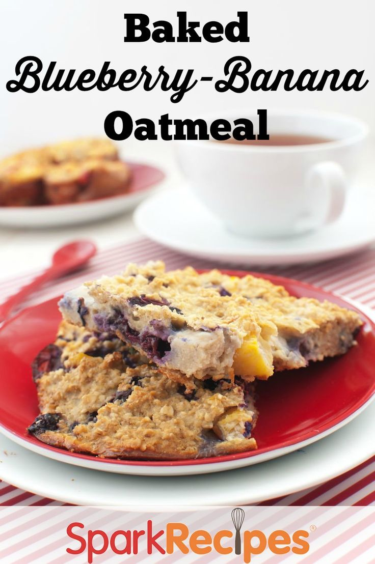 Baked Oatmeal with Blueberries and Bananas Recipe via @SparkPeople