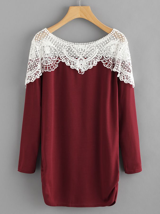 Shein Contrast Hollow Out Crochet Long Tee