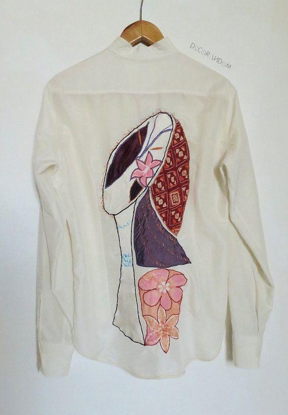 camicia biancafunkycamicia donnatop di decorandom su Etsy