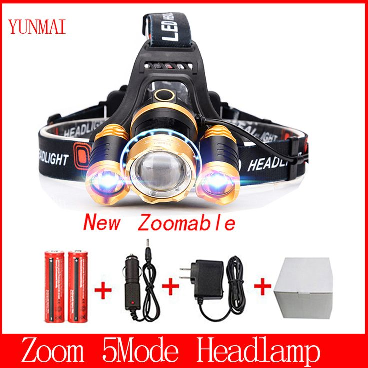 T6 Xm-L+2Q5 Led Headlight 8000Lm Headlamp Flashlight Head Torch Linterna Cree Xml T6 18650 Battery/Ac Car Charger Fishing Light