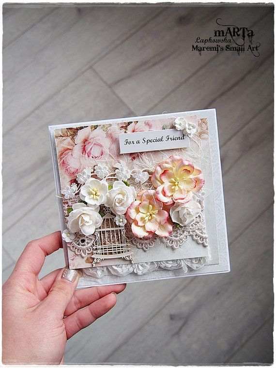 3D Handmade Friendship Card / For a Friend  Made of high quality card, stunning designer papers, decorated with paper flower, chipboards, lace,
