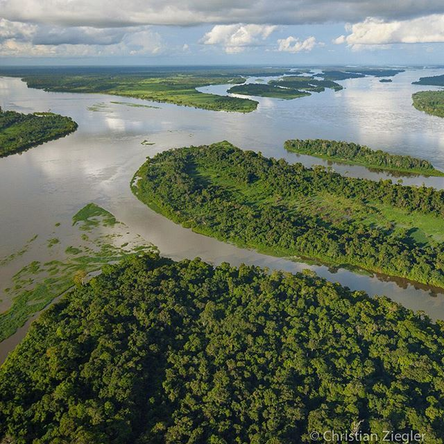 An aerial view of the Congo river about 150-km north of Mbandaka.