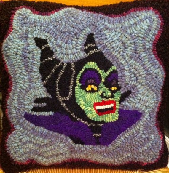 Maleficent Hooked Pillow on Etsy, $60.00