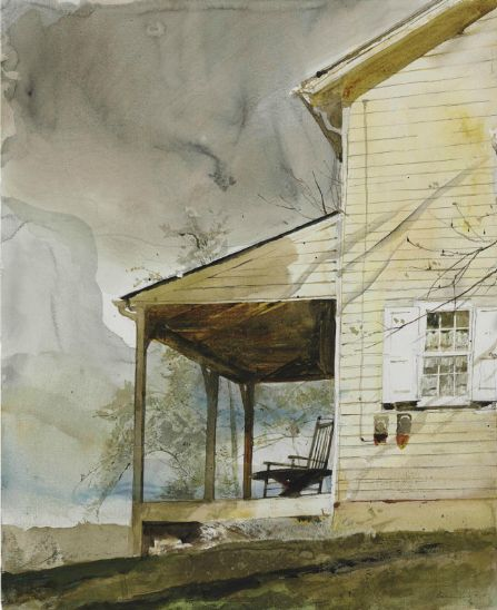 Andrew Wyeth ~ Messersmith's (1994, Chadds Ford, Pennsylvania, watercolor and pencil on paper, 24 x 19.5 inches)