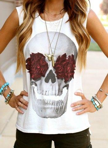 Skull & Roses Top - Tops - Shop