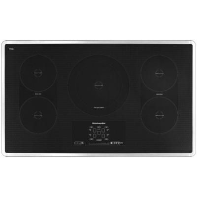 KitchenAid Architect Series II 36 in. Smooth Surface Induction Cooktop in Stainless Steel, 5 Elements with Bridge and Dual Element-KICU569XSS at The Home Depot