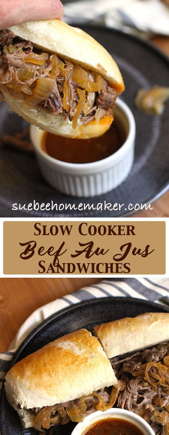 Slow Cooker Beef Au Jus Sandwiches are an easy dish to prepare. Slow cook a beef chuck roast all day long, combining onions and spices for flavor!