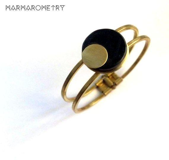 SALES Black round marble  bracelet cuff brass