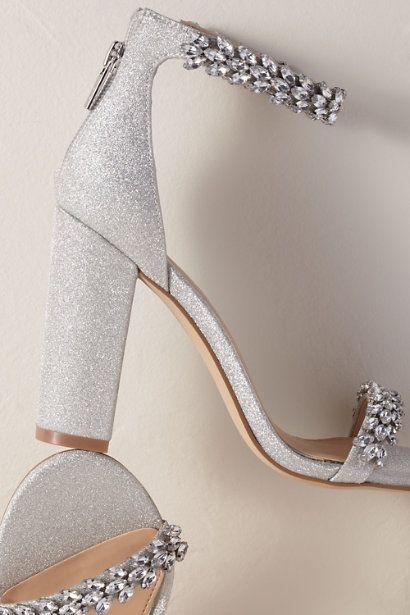 Silver Jewel By Badgley Mischka Mayra Block Heels Bhldn Silver Heels Wedding Shoes Prom Heels