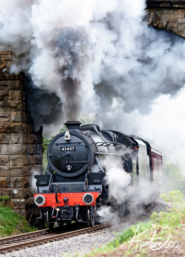 Steam Train going under the bridge at Darnholm, North Yorkshire Moors Railway