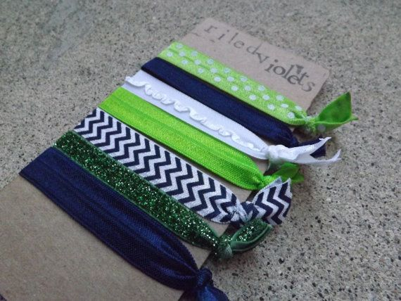 Seattle Seahawks Game Day Hair Tie Set - 7 Pack on Etsy, $5.25