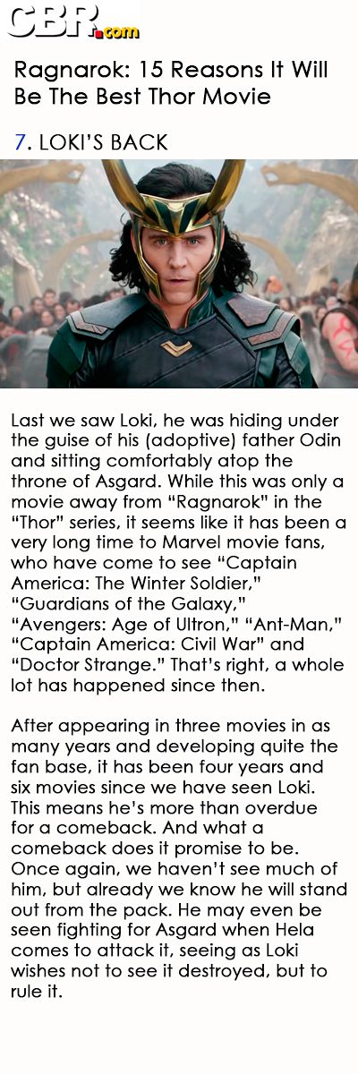 Ragnarok: 15 Reasons It Will Be The Best Thor Movie. Link: http://www.cbr.com/ragnarok-best-thor-movie/