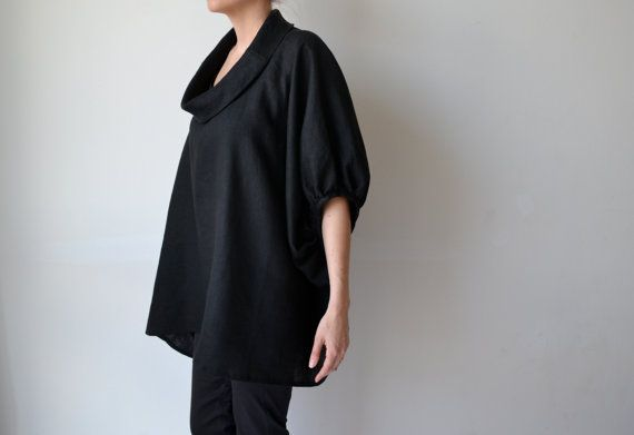 Black linen womens smock top tunic. Plus size. by MuguetMilan