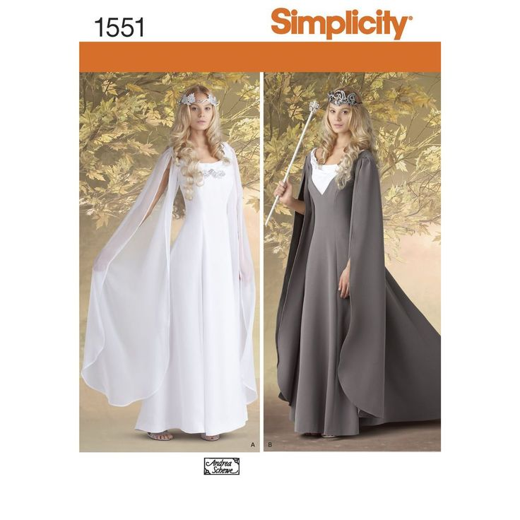 """misses costume gown with hanging sleeves, scoop neckline and collar variations.   andrea schewe. simplicity sewing pattern.<p></p><img src=""""skins/skin_1/images/icon-printer.gif""""   alt=""""printable pattern"""" /><a href=""""#"""" onclick=""""toggle_visibility('foo');"""">printable pattern terms of   sale</a><div id=""""foo"""" style=""""display:none; margin-top: 10px;"""">digital patterns are tiled and labeled so you can   print and assemble in the comfort of your home. plus, digital patterns incur no shipping costs..."""