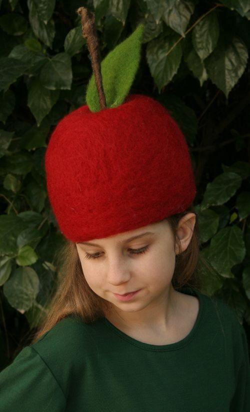 needle felted apple hat by Laura Lee Burch