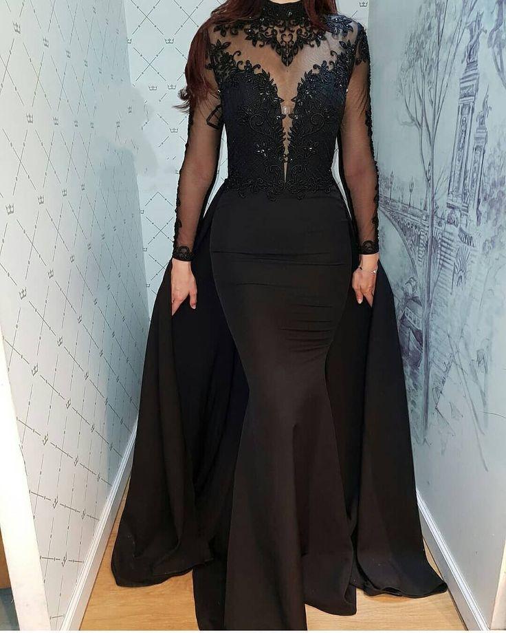 Günstige Abendkleider Lang Schwarz   Spitze Abendkleid Mit