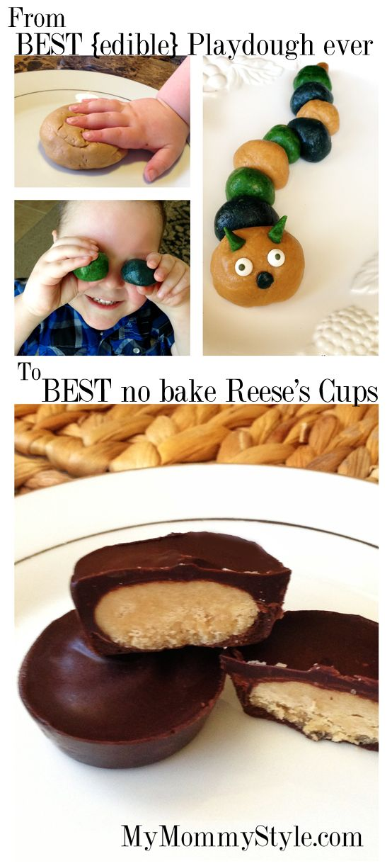 Peanut Butter Play dough AND Reese's Butter Cups ~ What makes this such a good recipe for play dough?  It ISN'T greasy!  LOVE it!