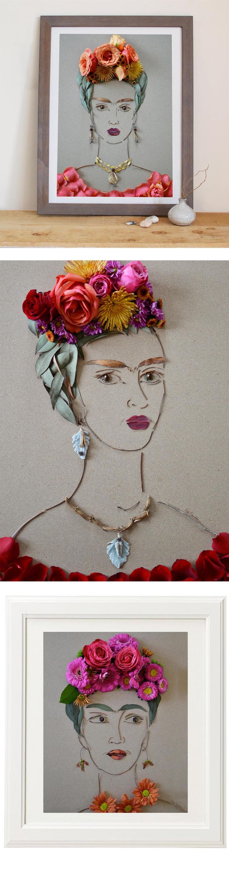 Frida made entirely of flowers and twigs! Totally unique affordable art prints to add to your space or gift to a Frida fan! #FaceTheFoliage by Vicki Rawlins