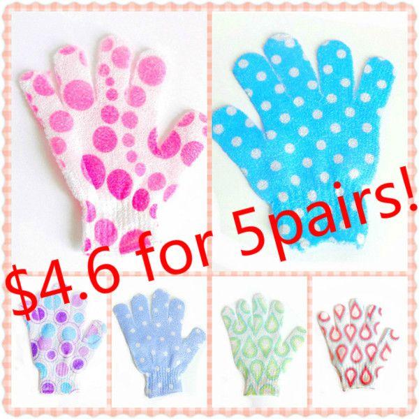 10PCS Bath Accessories Massage Accessories For Spa Bath Glove Multicolor Nylon Mesh Bath Shower Remove Dead Skin Gloves