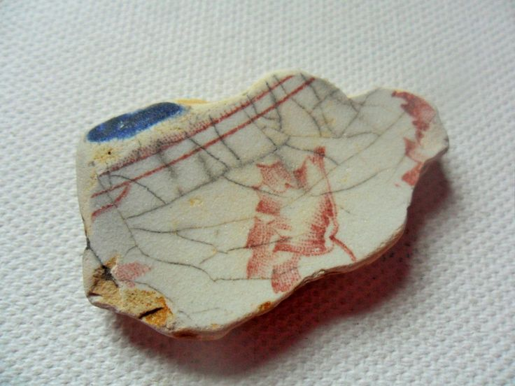 Pink stripe and flower sea pottery - Lovely English beach finds Lancashire UK by…