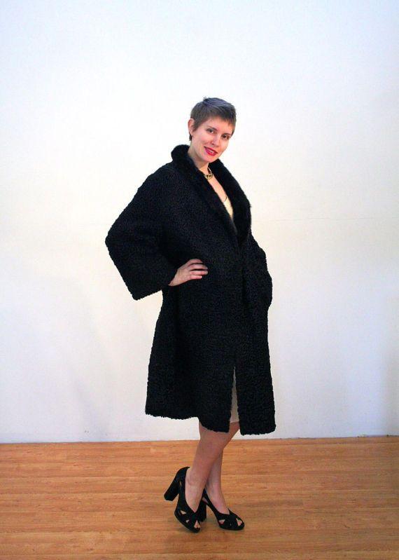 Gaia, 50s Black Lamb Fur Coat, Curly Lamb Coat, Broadtail Lamb Coat, Vintage Lambswool Coat, Astrakhan Fur Cocoon Coat, Mink Collar, L