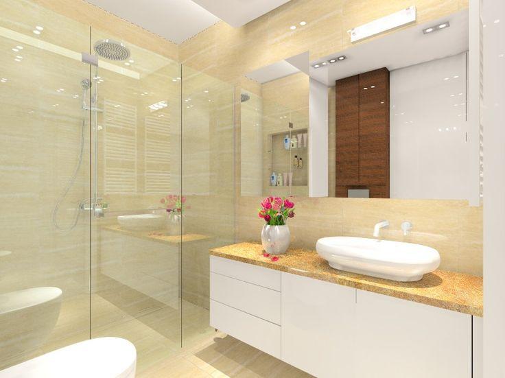 architekt wnętrz warszawa MKdezere - Mała łazienka - trawertyn