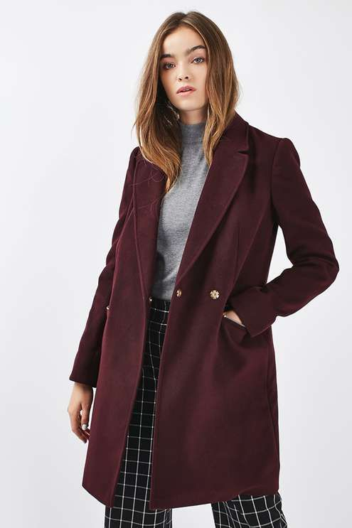 This TALL boyfriend style coat gets the balance between casual and cool just right in a rich burgundy colour with practical zip pockets. Throw it on with denim for effortless cool.