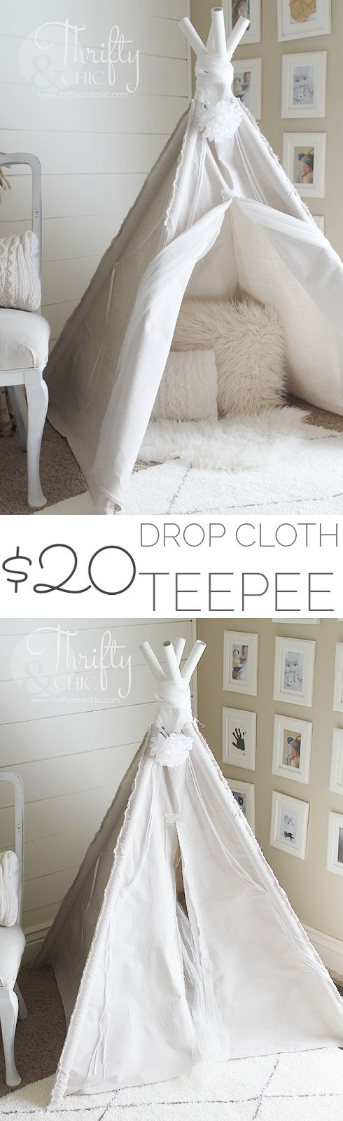 DIY 4 sided teepee made from a drop cloth!