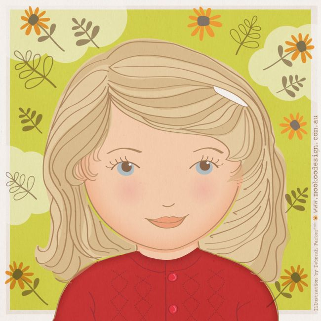 Week 4: Selfie. Digital illustration in Adobe Illustrator. Me as a 4 year old.