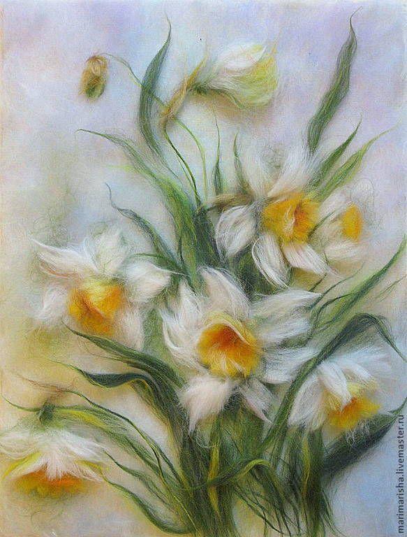 Купить Картина из шерсти Царство нарциссов,летняя цена! - разноцветный, картина из шерсти, живопись шерстью