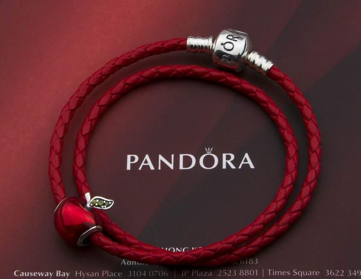 Great deal : Authentic pandora double circle leather bracelet with red apple charm ,check more in our store !