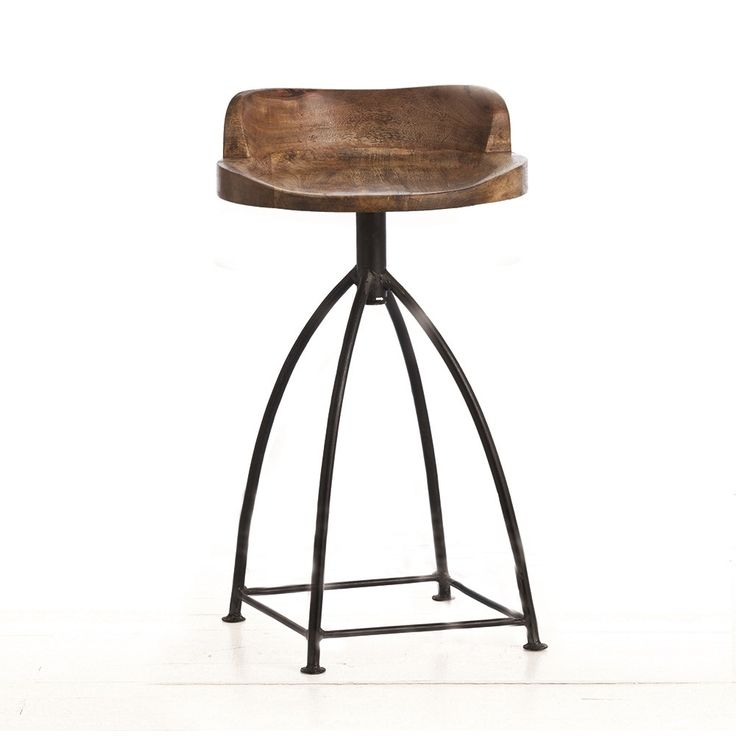 Rustic counter stool features sandblast antique waxed wooden swivel seat and natural iron base. Seat height is fixed. Support bar placement may vary up to  sc 1 st  Pinterest & 222 best counter | bar stool images on Pinterest | Counter bar ... islam-shia.org