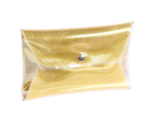 Gold clutch glitter handbag sparkle purse glitter by YPSILONBAGS