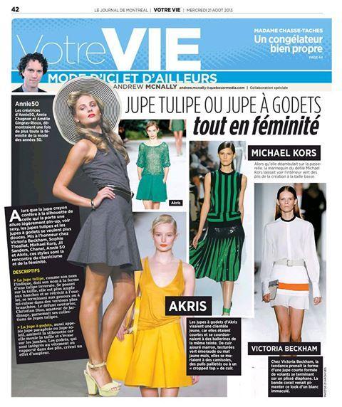 """Jupe """"Life saver"""" et chemisier """"Calypso"""" de la collection PE13-SS13 dans une chronique du Journal de Montréal, paru le 21 août 2013"""