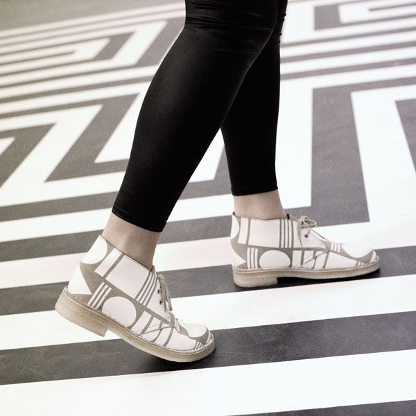 The classic Clark's Desert Boot re-worked with a geometric print. [Obsessed with all things pattern, Anna Murray and Grace Winteringham are the two halves that make up Patternity; these London-based designers believe that pattern is everywhere and that pattern has the power to positively engage us with our environment and each other.]