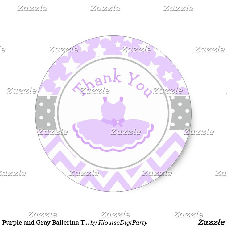 Purple and Gray Ballerina Thank You Baby Shower Classic Round Sticker