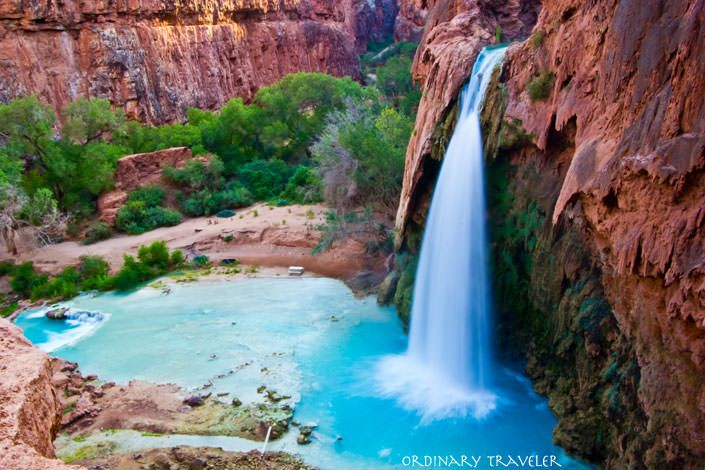Havasu Falls, Navajo Falls and Mooney Falls are located in the south rim of the Grand Canyon in Arizona on the Havasupai Indian Reservation.