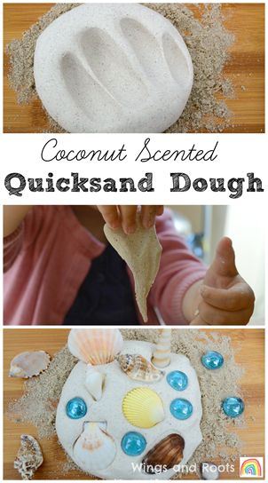 Just three ingredients in this stretchy quicksand play dough and it smells so tropical!